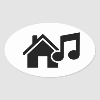 Hausmusikanmerkung Ovale Aufkleber