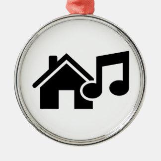 Hausmusikanmerkung Rundes Silberfarbenes Ornament