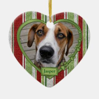 Haustier-Hundedenkmal Stripes Keramik Herz-Ornament
