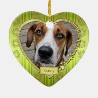 Haustier-HundeerinnerungsFoto-Weihnachtsgrünes Keramik Herz-Ornament