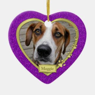 Haustier-HundeerinnerungsFoto-Weihnachtslila Keramik Ornament