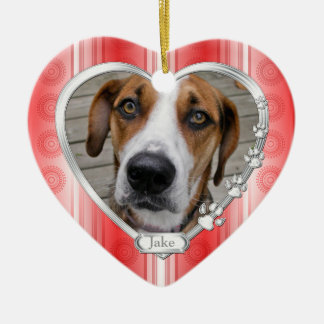 Haustier-HundeerinnerungsFoto-Weihnachtsrotes Keramik Herz-Ornament