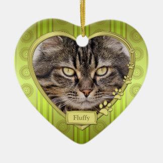 Haustier-Katzen-grünes Keramik Herz-Ornament