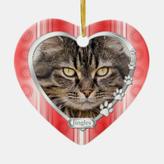 Haustier-Katzen-rotes weißes Keramik Herz-Ornament