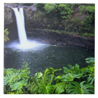 Hawaii, große Insel, Hilo, Regenbogen-Fälle, Stoff Große Quadratische Fliese
