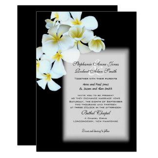 Hawaiische Blumen-kundenspezifische schwarze 12,7 X 17,8 Cm Einladungskarte