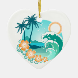 Hawaiische Insel 1 Keramik Herz-Ornament