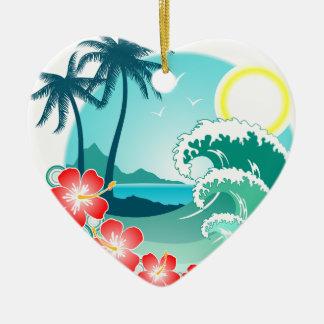 Hawaiische Insel 2 Keramik Herz-Ornament