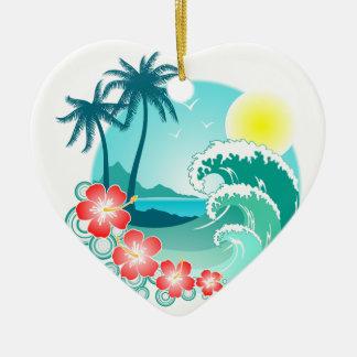 Hawaiische Insel 3 Keramik Herz-Ornament