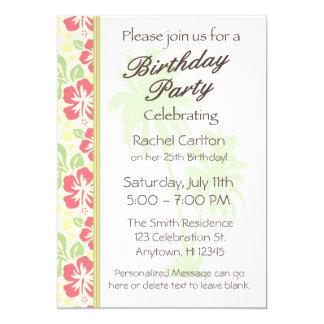 Hawaiische Luau Geburtstags-Party Einladung