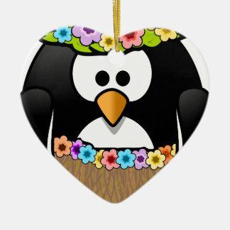 Hawaiischer Penguin mit Blumen und Grasrock Keramik Herz-Ornament