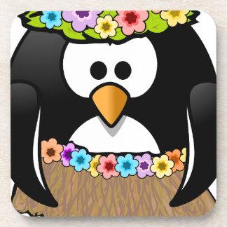 Hawaiischer Penguin mit Blumen und Grasrock Untersetzer