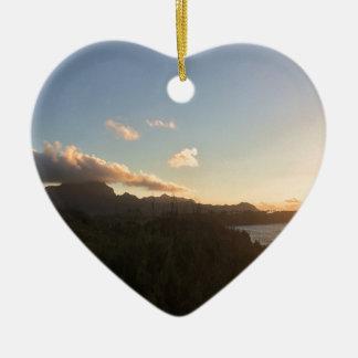 Hawaiischer Sonnenaufgang Keramik Herz-Ornament