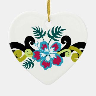 Hawaiisches Blumen Keramik Herz-Ornament