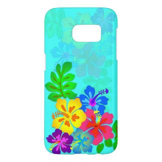 Hawaiisches Hibiskus-Aqua blaues Samsung S7