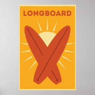 Hawaiisches Longboard Surfbrett Vintages Retro Poster