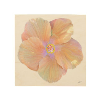 Hawaiiwatercolor-Hibiskus-Blume Holzleinwand