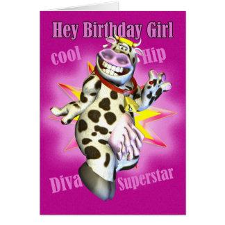 He Geburtstags-Mädchen-niedliche Kuh die Karte