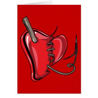 heart-9Red Herz gebrochen zerrissen nähen Karte
