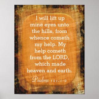 Heben Sie Bergwerk-Augen - Psalm-121:1 - 2 an Poster