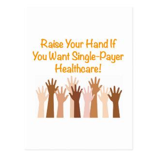 Heben Sie Ihre Hand für Single-Zahler Postkarte