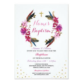 Heilige die BlumenKranz-Rosa-Taufe-Taufe laden ein Karte