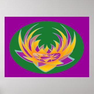 Heiliger lila Hintergrund der LOTOS Aura-Energie-n Poster