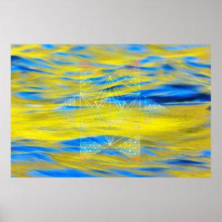 Heiliges Geometrie-Wasser-Element Poster