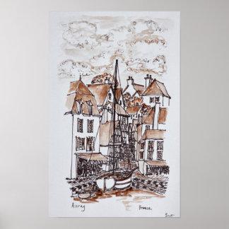 Heiliges-Goustan Hafen, Auray   Bretagne, Poster