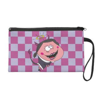 Heiliges Teufel-Mädchen auf lila QuadratWristlets Wristlet Handtasche
