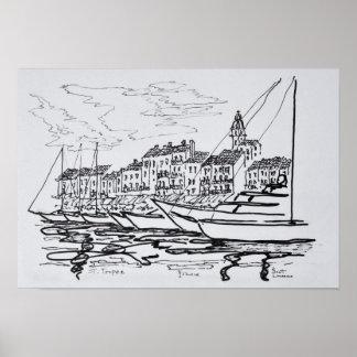 Heiliges-Tropez Hafen   französisches Riviera, Poster