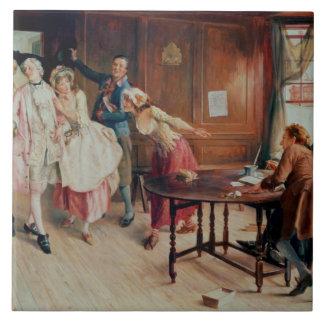 Heirat in Flotten-Straße, 1898 (Öl auf Leinwand) Keramikfliese