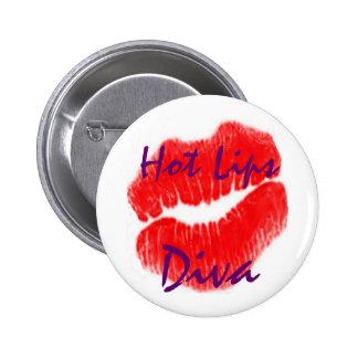 """""""Heiße Lippendiva"""" im weißen Knopf Runder Button 5,7 Cm"""