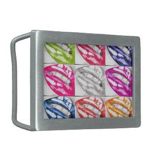 Heiße LippenPop-Kunst Rechteckige Gürtelschnallen