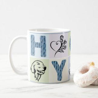 Heiße u. hygge Tasse (blaue Buchstaben u.
