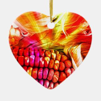 heißer gestreifter Mais Keramik Herz-Ornament