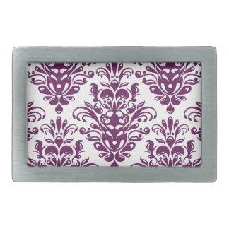 Heißes lila und weißes elegantes Damast-Muster Rechteckige Gürtelschnalle