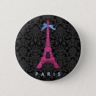 Heißes Rosa-Eiffel-Turm im Imitat-Glitter Runder Button 5,1 Cm