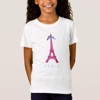 Heißes Rosa-Eiffel-Turm im Imitat-Glitter T-Shirt