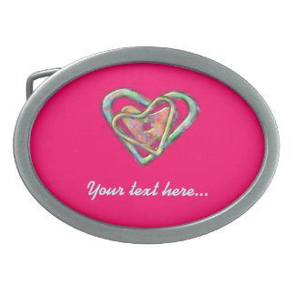 Heißes Rosa-Liebe-Herz-GewohnheitValentines Ovale Gürtelschnallen