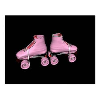Heißes Rosa-Rollen-Skate Postkarte