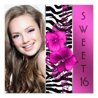 Heißes Rosazebra-Foto-Bonbon 16 Geburtstags-Party Quadratische 13,3 Cm Einladungskarte