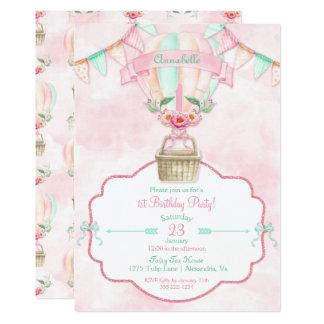 Heißluft-Ballon-erster Geburtstags-rosa tadelloser Karte