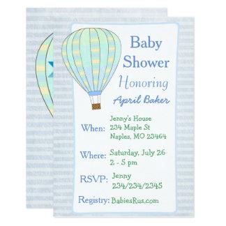 Heiu0026#223;luft Ballon Jungen Babyparty Einladung Karte