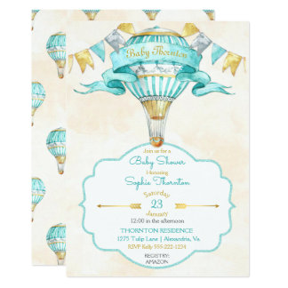 Heißluft-Ballon-Türkis-Goldgeschlechts-neutrale 12,7 X 17,8 Cm Einladungskarte