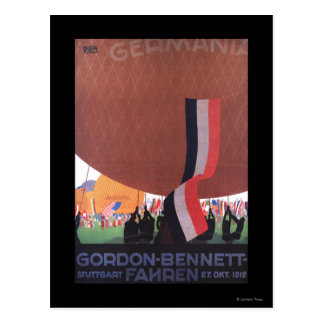 Heißluftballon-Rennen Gordons Bennett Postkarte