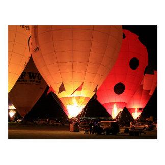 Heißluftballonnachtglühen Postkarten