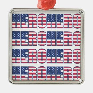Held-amerikanische Flagge spielt Streifen-rotes Quadratisches Silberfarbenes Ornament