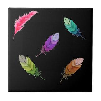 Hell farbige Federn auf Schwarzem Fliese