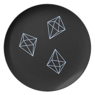 Hellblaue geometrische Form-Trio-Platte Melaminteller